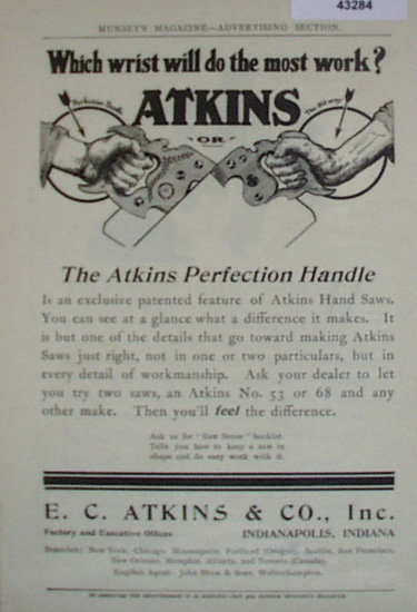 Atkins Hand Saw 1907 To 1912 Ad