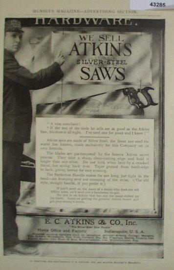 E.C. Atkins Co. Saws 1907 To 1912 Ad