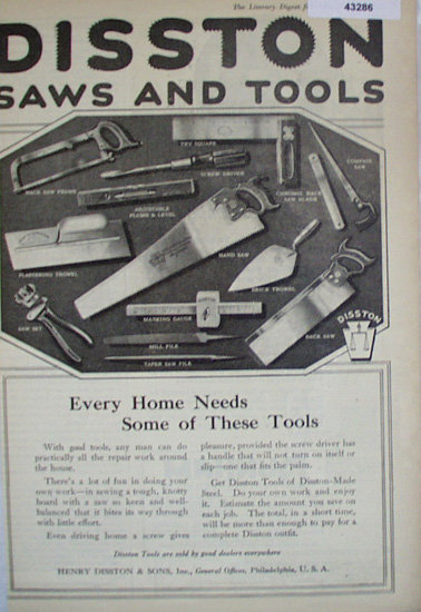Disston Saws And Tools 1920 Ad