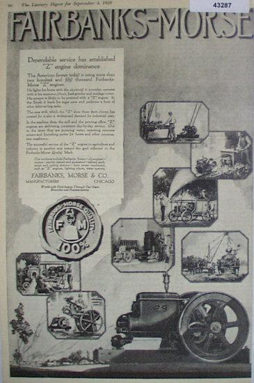 Fairbanks Morse Engines 1920 Ad