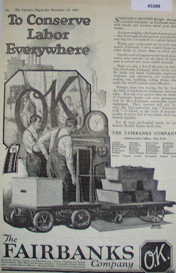 The Fairbanks Co. 1920 Ad