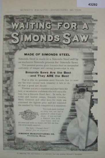 Simonds Saws 1907 To 1912 Ad