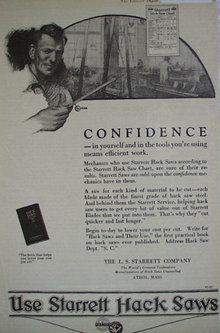 Starrett Hack Saws 1920 Ad