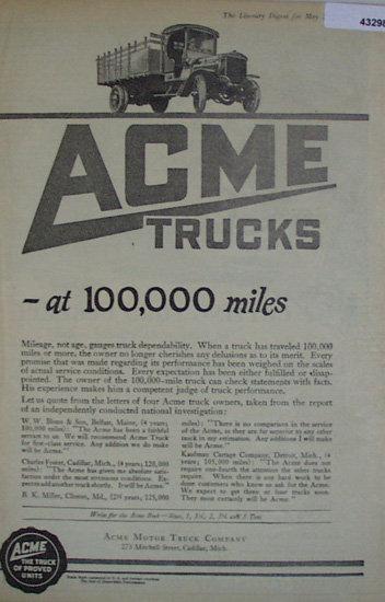 Acme Trucks 1920 Ad