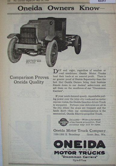 Oneida Motor Trucks 1920 Ad