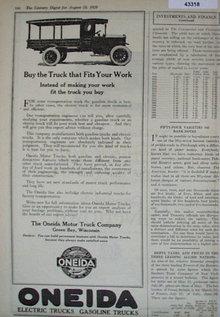 Oneida Motor Truck Co. 1920 Ad
