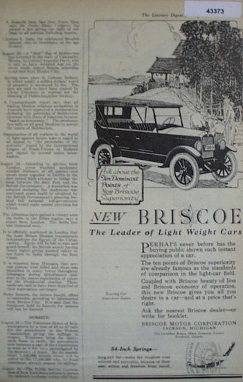 Briscoe Touring Car 1920 Ad.