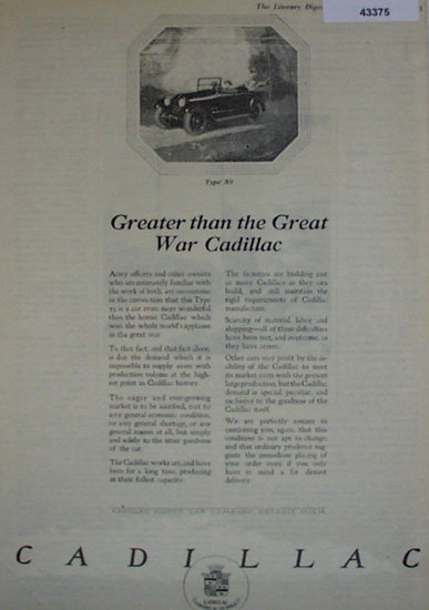 Cadillac Type 59 1920 Ad