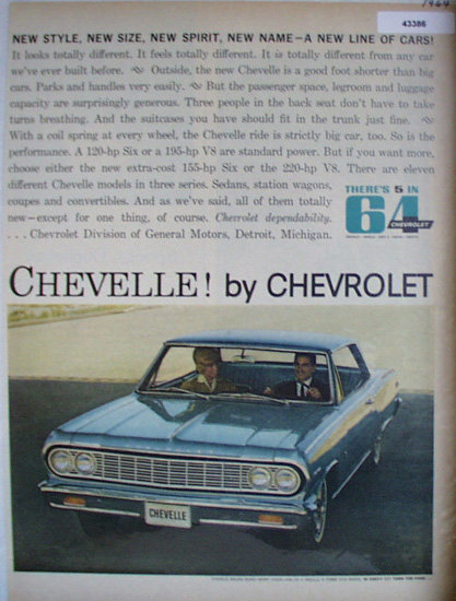 Chevelle By Chevrolet 1964 Ad