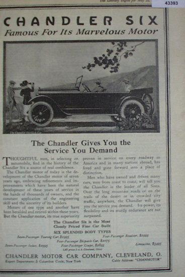 Chandler Six Car 1920 Ad