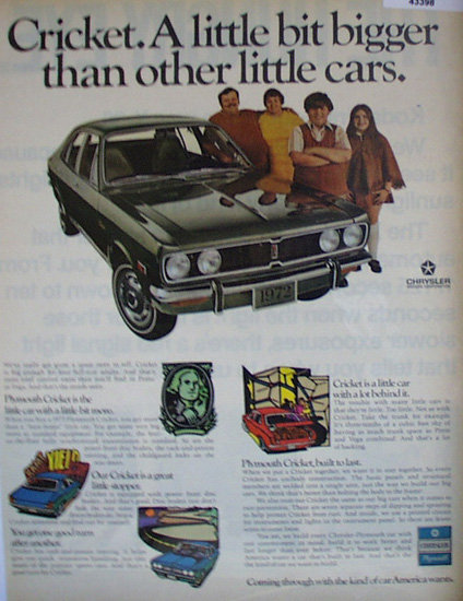 Chrysler Cricket Car 1971 Ad