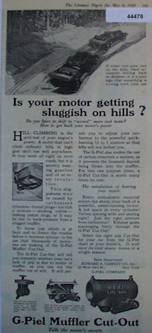 G Piel Muffler Cut Out 1920 Ad