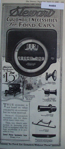 Stewart Speedometer for Fords 1920 Ad