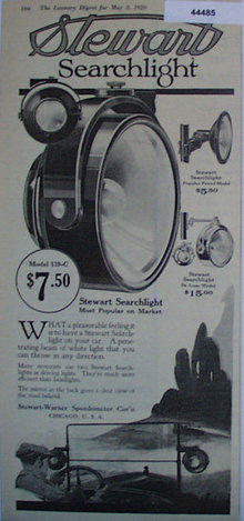 Stewart Searchlight 1920 Ad