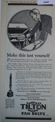 Tilton Fan Belts 1920 Ad