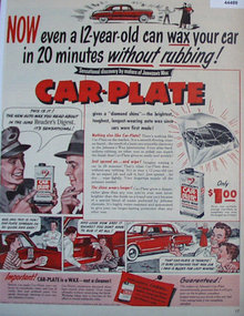 Car Plate Auto Wax 1950 Ad