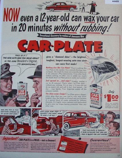 Car Plate Auto Wax 1950 Ad