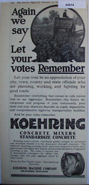 Koehring Concrete Mixers 1920 Ad