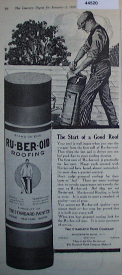 Ru-Ber-Oid Roofing 1920 Ad.