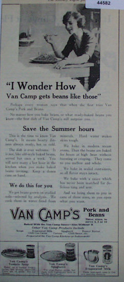 Van Camps Pork And Beans 1920 Ad