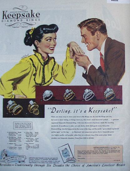 Keepsake Diamond Rings 1948 Ad