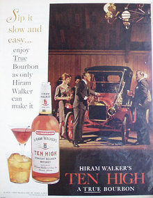 Hiram Walkers Ten High Bourbon 1964 Ad