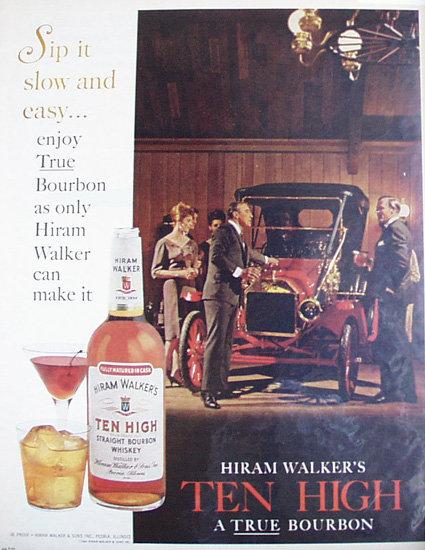 Hiram Walkers Ten High Bourbon 1964 Ad