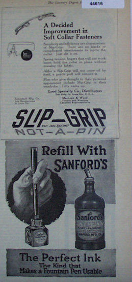 Slip Grip Soft Collar Fasteners 1920 Ad