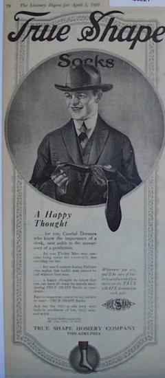 True Shape Hosiery 1920 Ad.