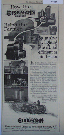 Eisemann Magneto Corp. 1920 Ad.