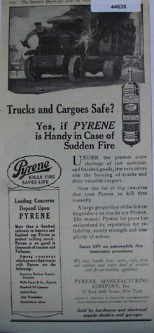 Pyrene Fire Extinguishers 1920 Ad.