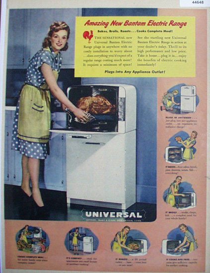 Universal Electric Range 1948 Ad.