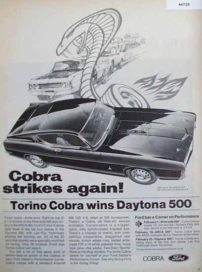 Ford Cobra 1969 Ad.