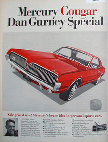 Mercury Cougar Dan Gurney Special 1967 Ad.
