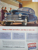 Plymouth Car 1948 Ad.