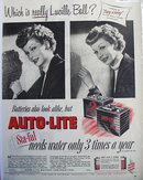 Auto Lite Batteries Lucille Ball 1949 Ad