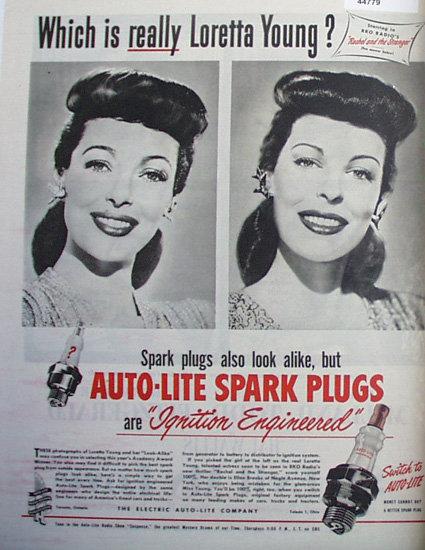 Auto Lite Spark Plugs Loretta Young 1948 Ad.