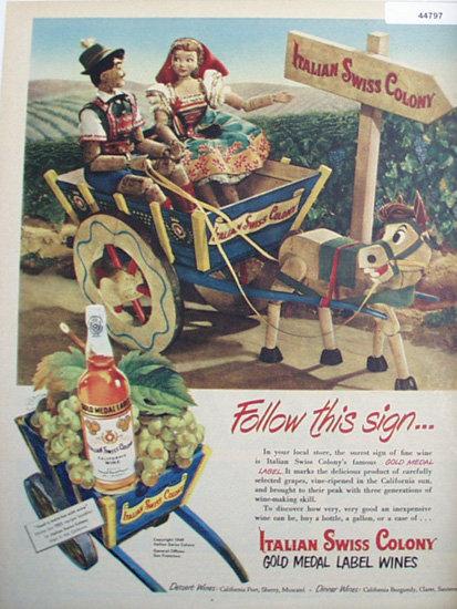 Italian Swiss Colony Wines 1949 Ad.