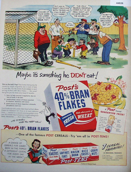 Posts 40 Percent Bran Flakes 1950 Ad