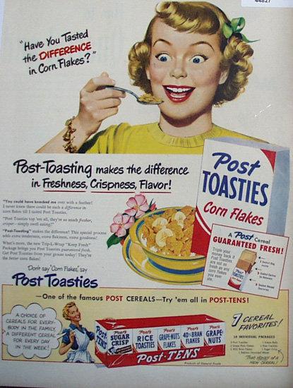 Post Toasties Corn Flakes 1950 Ad