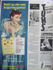 Fatima Cigarettes 1950 Ad.
