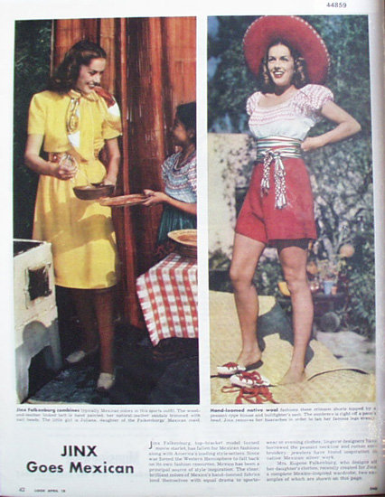 Jinx Falkenburg Mexican Fashions 1944 Article