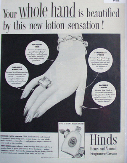 Hinds honey And Almond Cream 1948 Ad