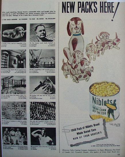 Niblets Fresh Corn Off The Cob 1948 Ad