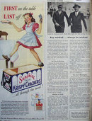 Sunshine Krispy Saltines 1944 Ad.