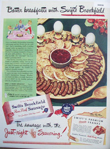Swifts Brookfield Pure Pork Sausage 1947 Ad.