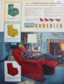 Kroehler Relaxer Chair 1956 Ad.