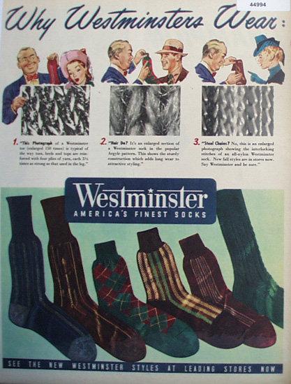 Westminster Americas Finest Socks 1947 Ad.