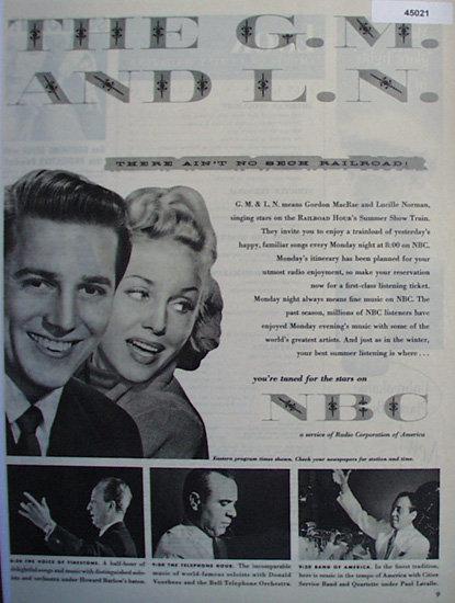 N.B.C. A Service Of Radio Corporation Of America 1950 Ad.