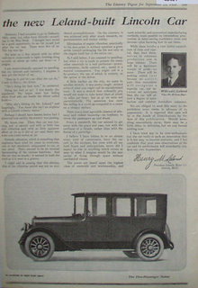 Leland Built Lincoln Car 1920 Ad